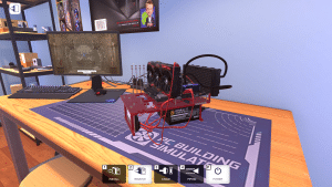 Open Benchtable Red in PC Building Simulator (screen)