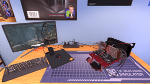 Open Benchtable Red in PC Building Simulator (desk)